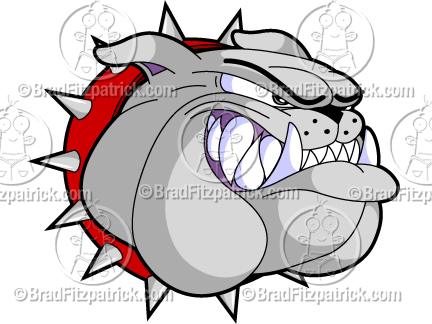 Bulldog Head Growling Cartoon Mascot Logo Clipart